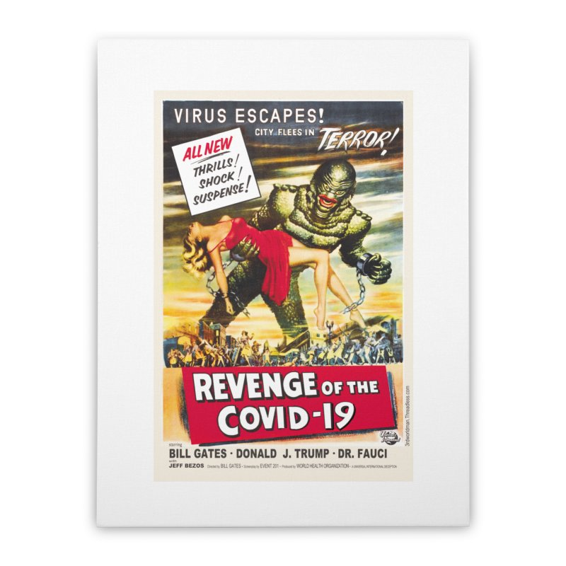 """""""Revenge Of The Covid-19 – Virus Escapes! City Flees In Terror!"""" by dontpanicattack!™ Home Stretched Canvas by 3rd World Man"""