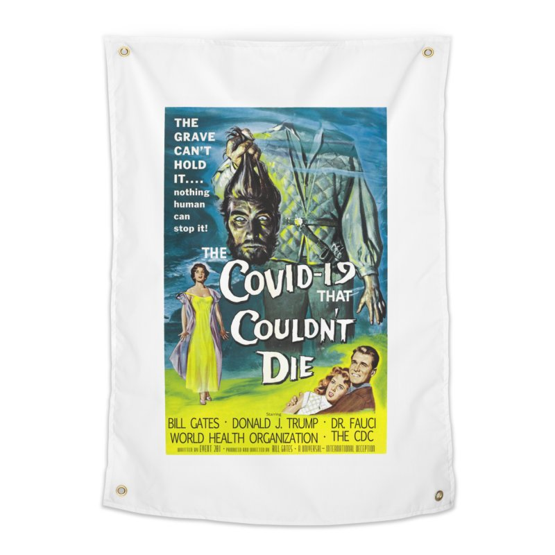"""Nothing Human Can Stop It – The Covid-19 That Couldn't Die"" by dontpanicattack!™ Home Tapestry by 3rd World Man"