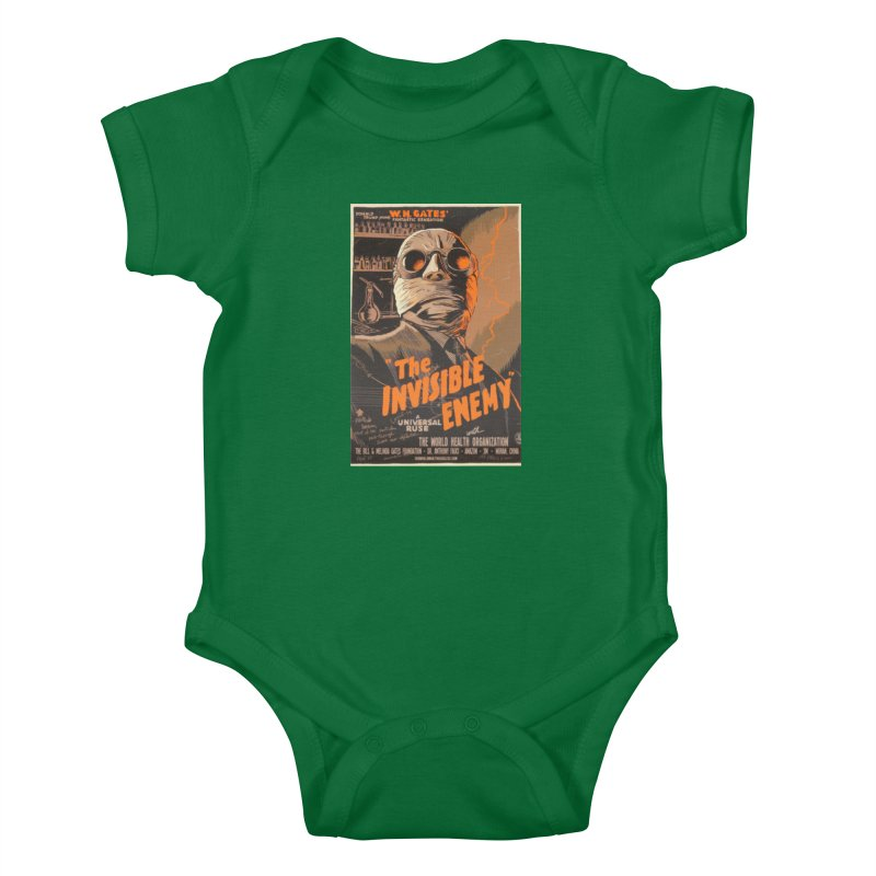 """""""Donald Trump presents W.H. Gates Fantastic Sensation: The Invisible Enemy"""" by dontpanicattack!™ Kids Baby Bodysuit by 3rd World Man"""