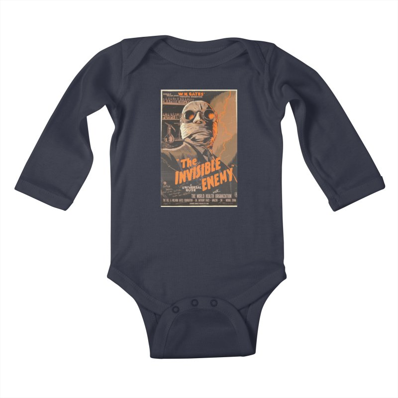 """""""Donald Trump presents W.H. Gates Fantastic Sensation: The Invisible Enemy"""" by dontpanicattack!™ Kids Baby Longsleeve Bodysuit by 3rd World Man"""