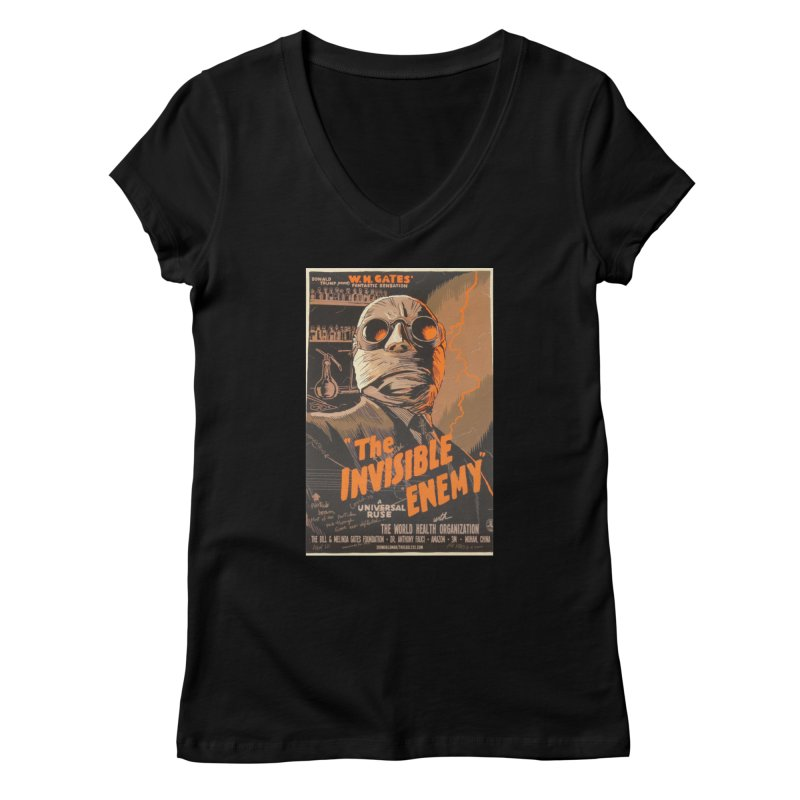 """""""Donald Trump presents W.H. Gates Fantastic Sensation: The Invisible Enemy"""" by dontpanicattack!™ Women's V-Neck by 3rd World Man"""