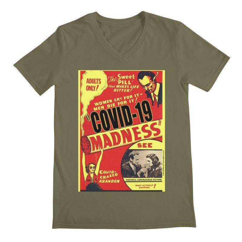 """Covid-19 Madness! Covid-Crazed Abandon!"" by dontpanicattack!™ Men's V-Neck by 3rd World Man"
