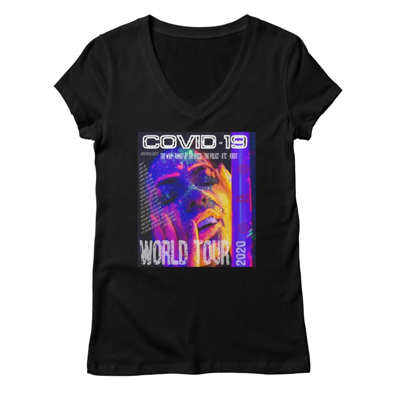 """""""COVID-19 World Tour 2020 with Rock's Greatest Hits"""" by dontpanicattack!™ Women's V-Neck by 3rd World Man"""