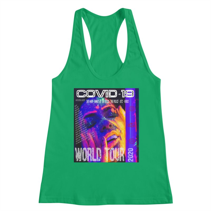 """""""COVID-19 World Tour 2020 with Rock's Greatest Hits"""" by dontpanicattack!™ Women's Tank by 3rd World Man"""