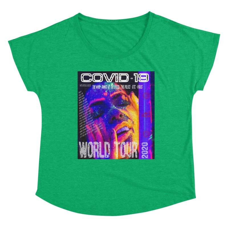 """""""COVID-19 World Tour 2020 with Rock's Greatest Hits"""" by dontpanicattack!™ Women's Scoop Neck by 3rd World Man"""