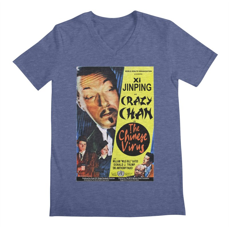 """""""WHO presents Xi Jinping as Crazy Chan in The Chinese Virus"""" by dontpanicattack!™ (rup) Men's V-Neck by 3rd World Man"""