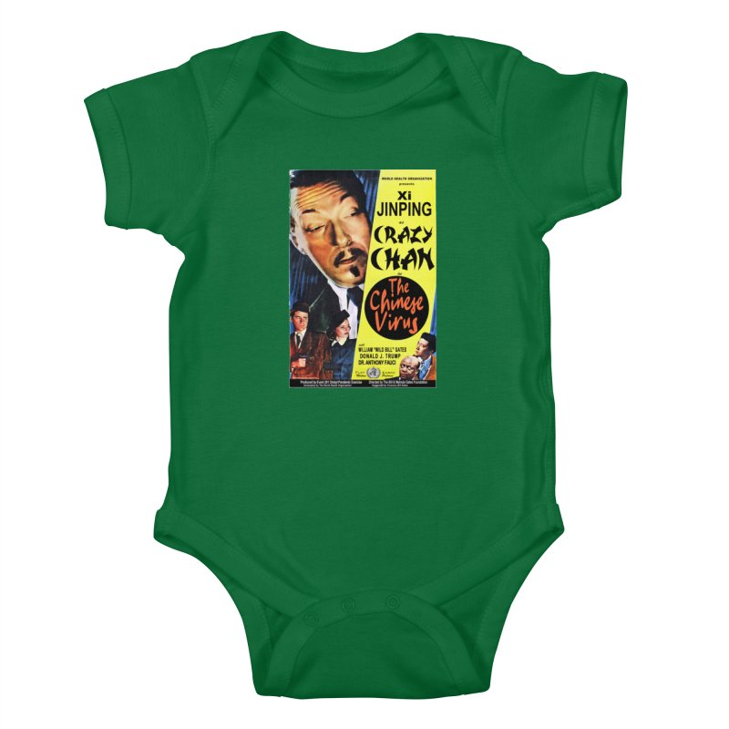 """WHO presents Xi Jinping as Crazy Chan in The Chinese Virus"" by dontpanicattack!™ (rup) Kids Baby Bodysuit by 3rd World Man"