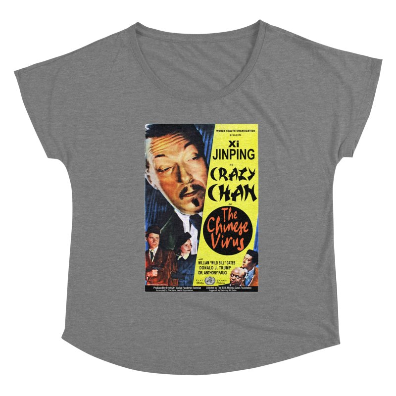 """""""WHO presents Xi Jinping as Crazy Chan in The Chinese Virus"""" by dontpanicattack!™ (rup) Women's Scoop Neck by 3rd World Man"""