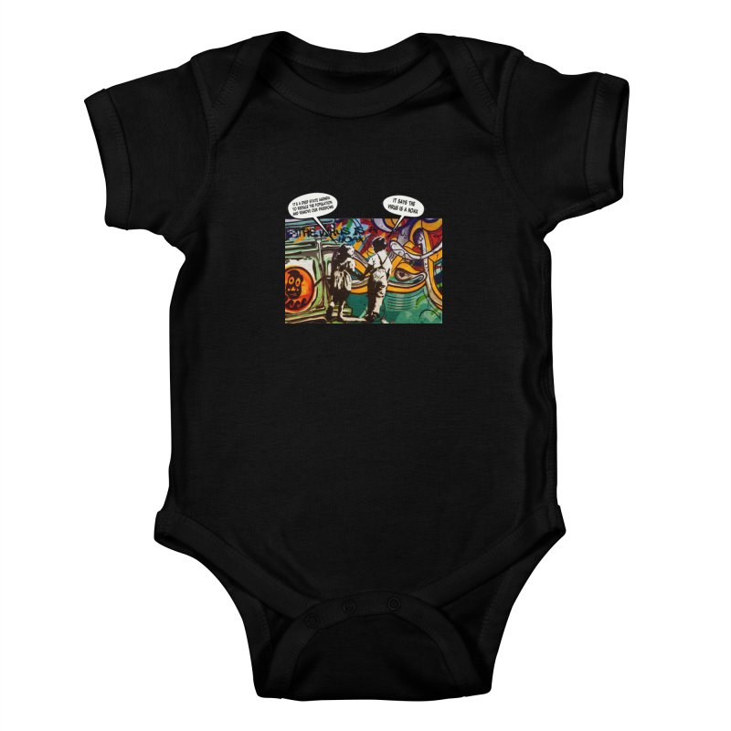 """""""The Virus Is A Hoax"""" by dontpanicattack™ Fitting sentiment for the current Covid-19 State Of Panic Kids Baby Bodysuit by 3rd World Man"""