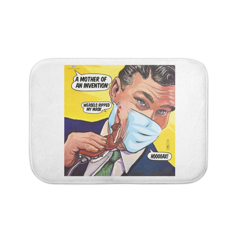 """""""Weasels Ripped My Mask"""" a Frank Zappa tribute for the Pandemic of 2020 by dontpanicattack™ Home Bath Mat by 3rd World Man"""