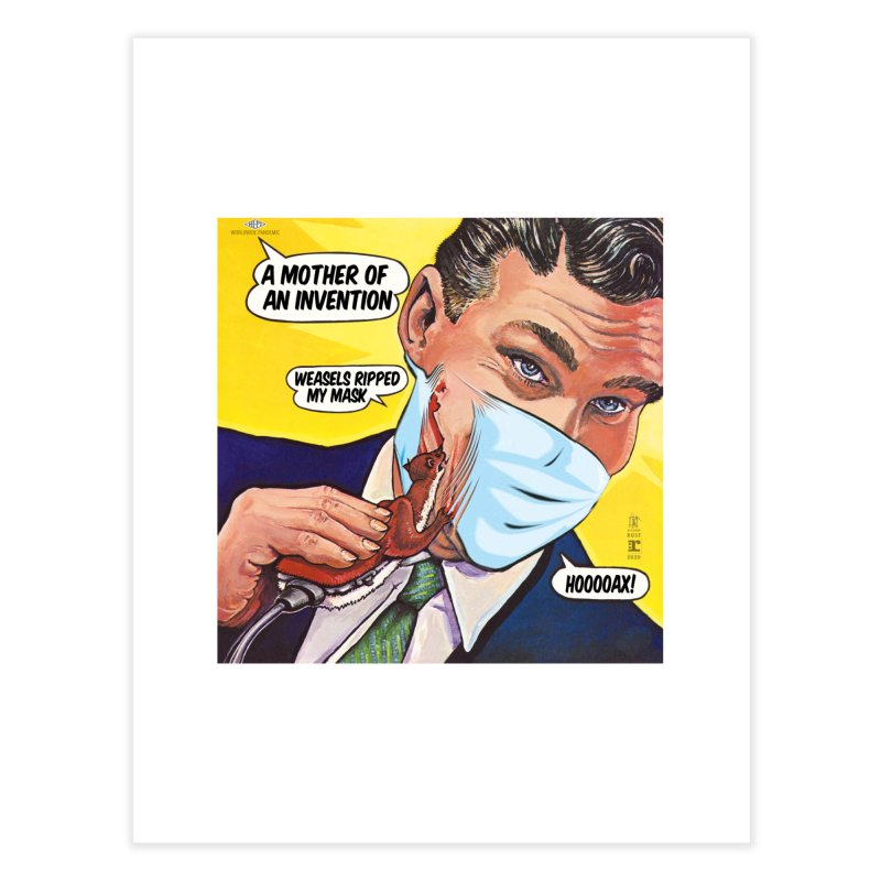 """""""Weasels Ripped My Mask"""" a Frank Zappa tribute for the Pandemic of 2020 by dontpanicattack™ Home Fine Art Print by 3rd World Man"""