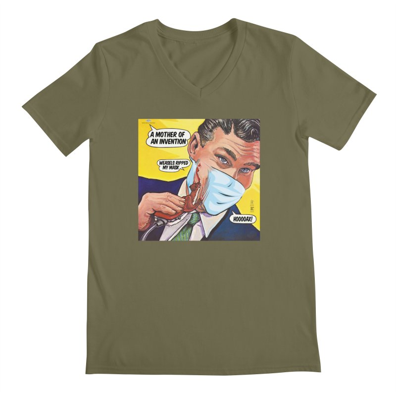 """""""Weasels Ripped My Mask"""" a Frank Zappa tribute for the Pandemic of 2020 by dontpanicattack™ Men's V-Neck by 3rd World Man"""