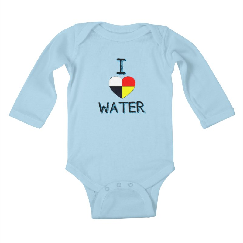 I love Water in Kids Baby Longsleeve Bodysuit Powder Blue by Online Store