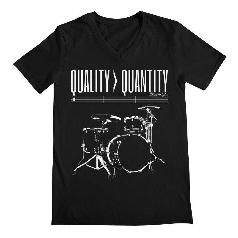 QUALITY OVER QUANTITY Men's V-Neck by Online Store