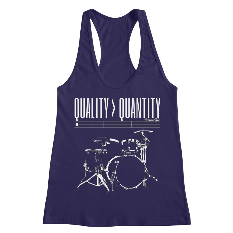 QUALITY OVER QUANTITY in Women's Racerback Tank Dark Blue by Online Store