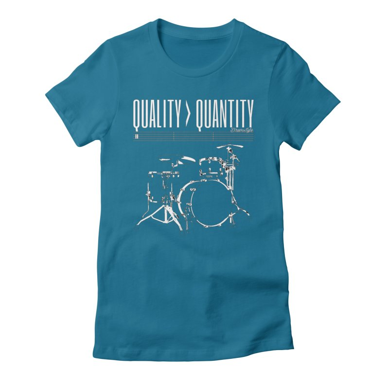 QUALITY OVER QUANTITY Women's Fitted T-Shirt by Online Store
