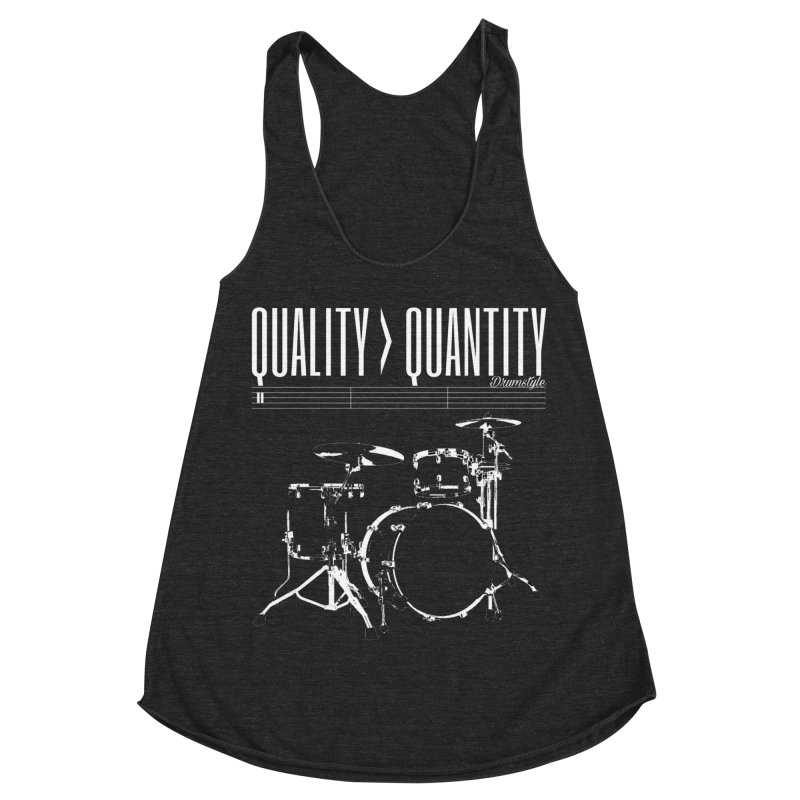 QUALITY OVER QUANTITY Women's Racerback Triblend Tank by Online Store