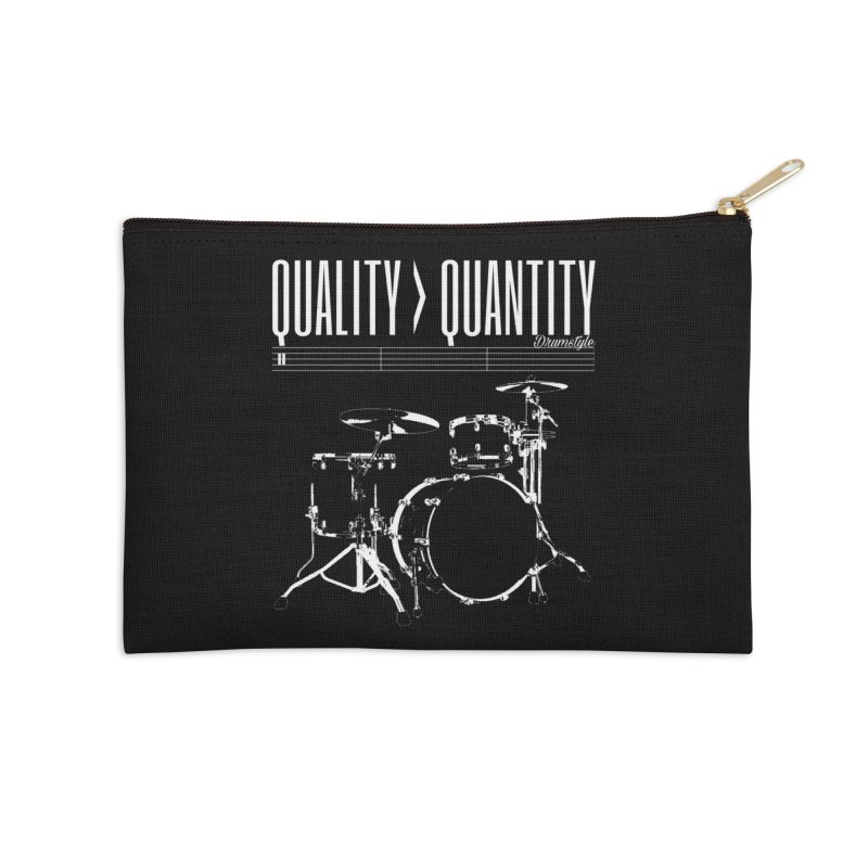 QUALITY OVER QUANTITY Accessories Zip Pouch by Online Store