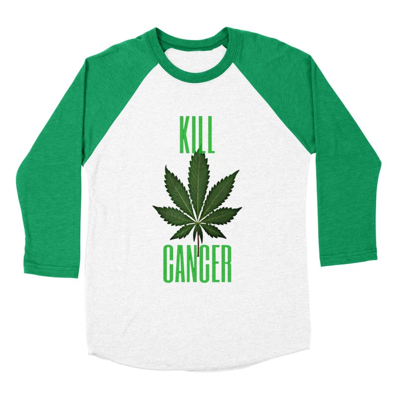 Kill Cancer in Men's Baseball Triblend Longsleeve T-Shirt Tri-Kelly Sleeves by Online Store