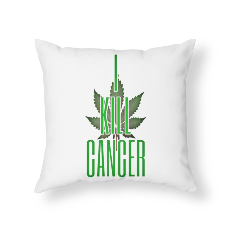 I Kill Cancer in Throw Pillow by Online Store