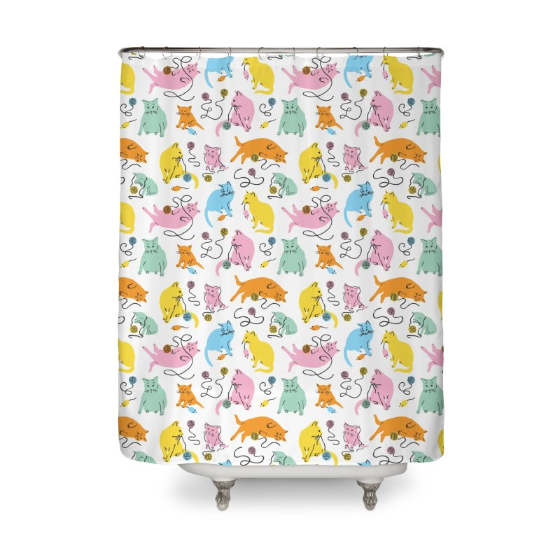 Here for the Cats - Rainbow Housewares Shower Curtain by 5 Eye Studio