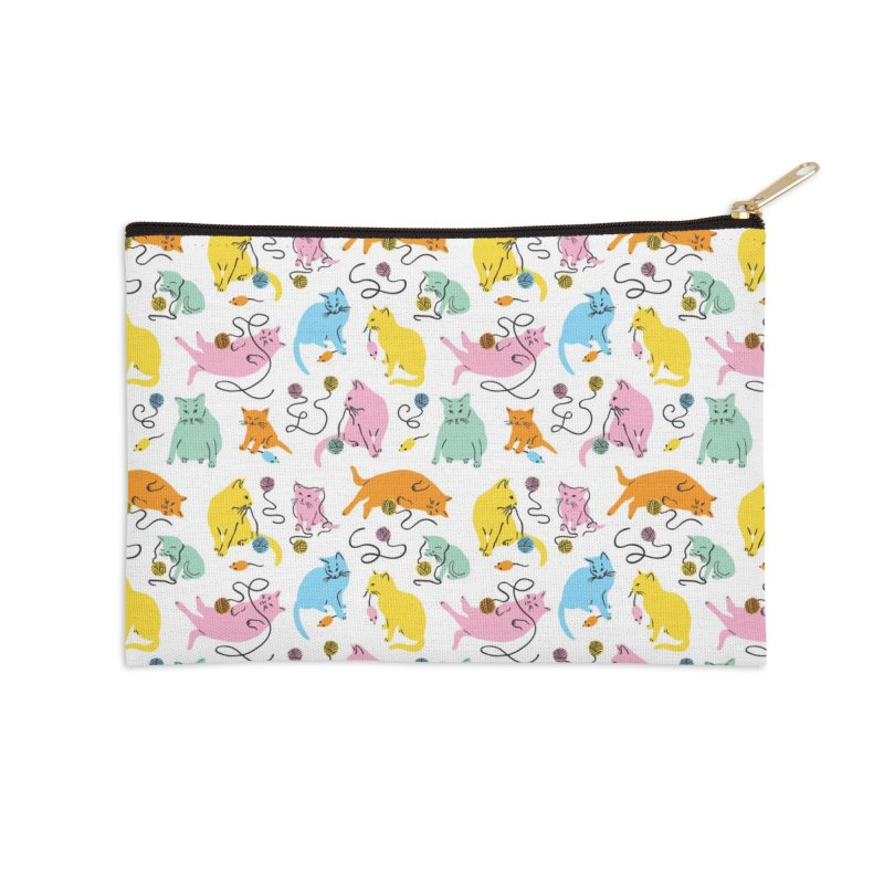 Here for the Cats - Rainbow Accessories Zip Pouch by 5 Eye Studio