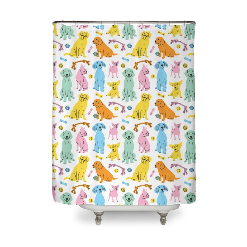 I'm Here for the Dogs - Rainbow Home Shower Curtain by 5 Eye Studio