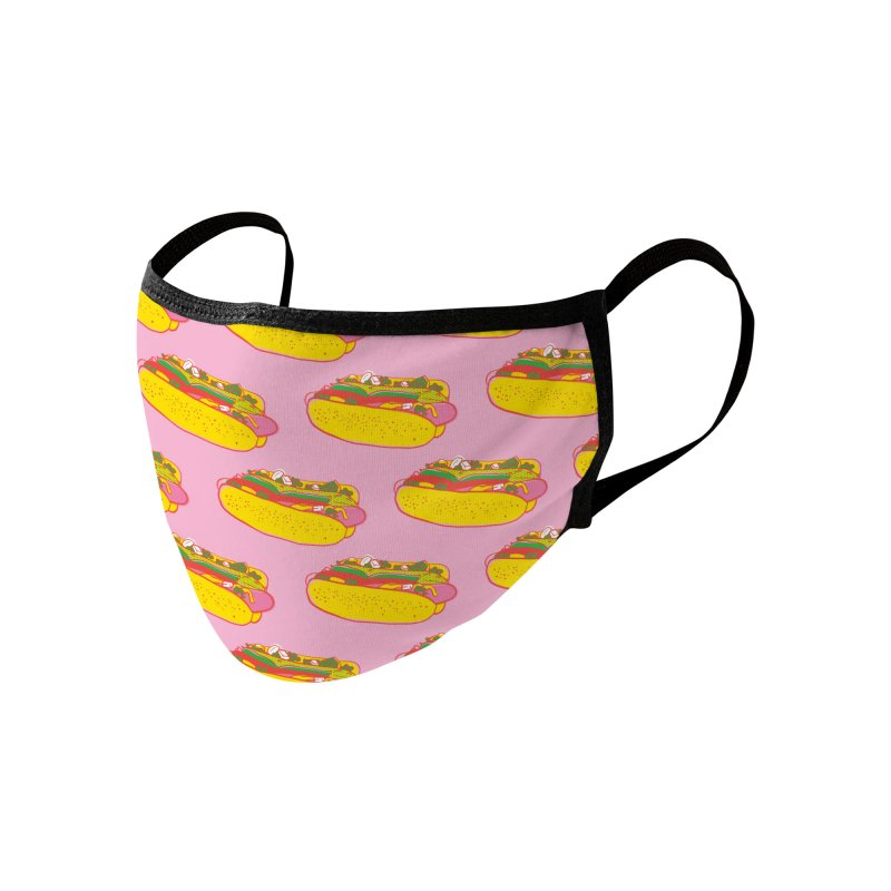 Chicago Hot Dog (Pink) Accessories Face Mask by 5 Eye Studio