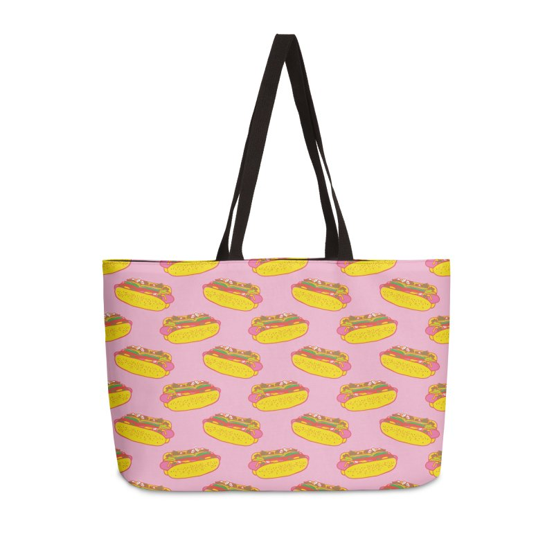 Chicago Hot Dog (Pink) Accessories Bag by 5 Eye Studio