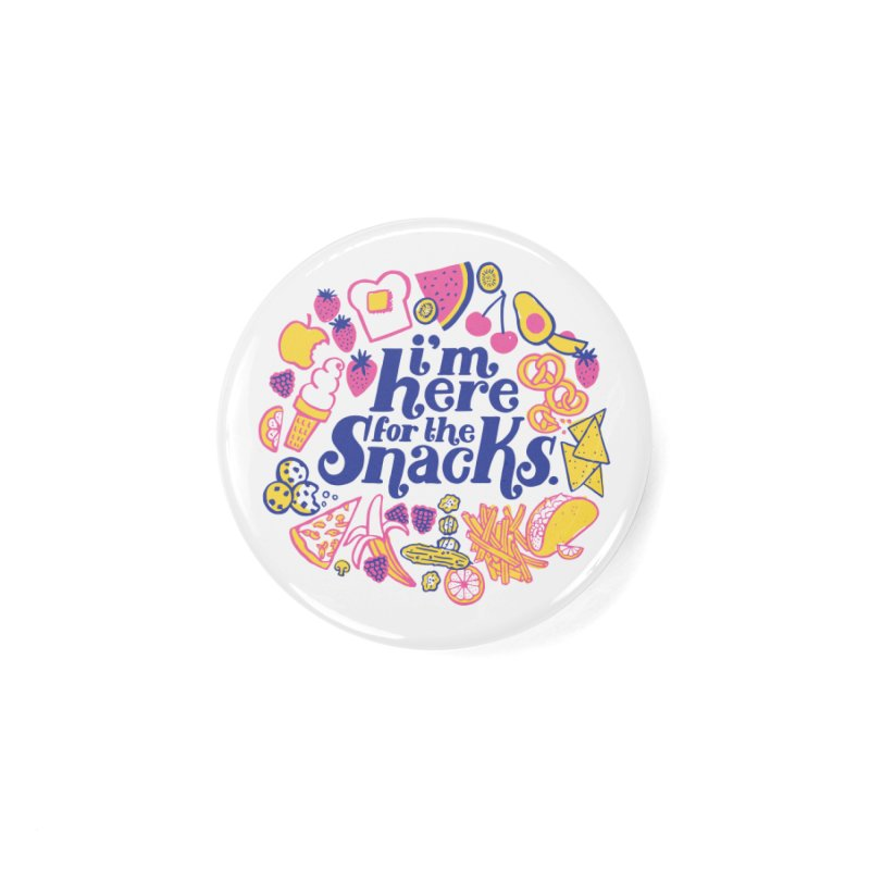 Here for the Snacks Masks + Goodies Button by 5 Eye Studio