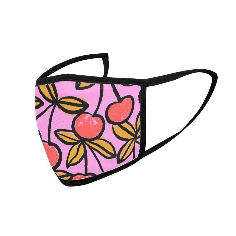 Sketchy Cherries Print Accessories Face Mask by 5 Eye Studio