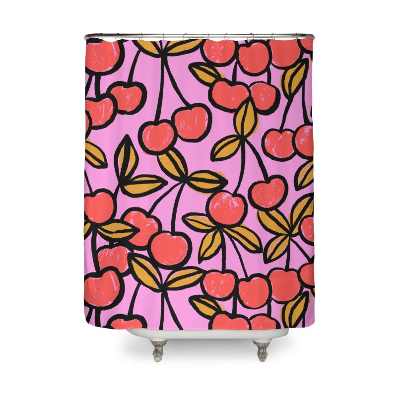 Sketchy Cherries Print Home Shower Curtain by 5 Eye Studio