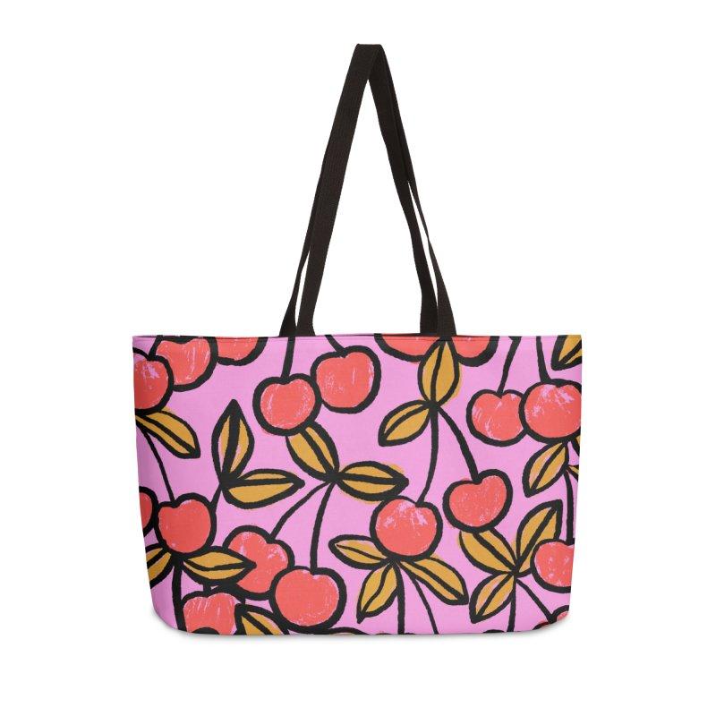 Sketchy Cherries Print Accessories Bag by 5 Eye Studio