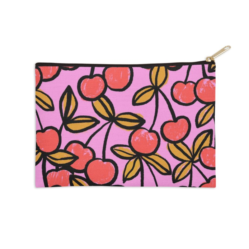 Sketchy Cherries Print Accessories Zip Pouch by 5 Eye Studio