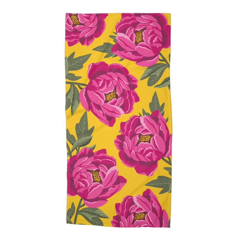 Bright Peony Print Accessories Beach Towel by 5 Eye Studio
