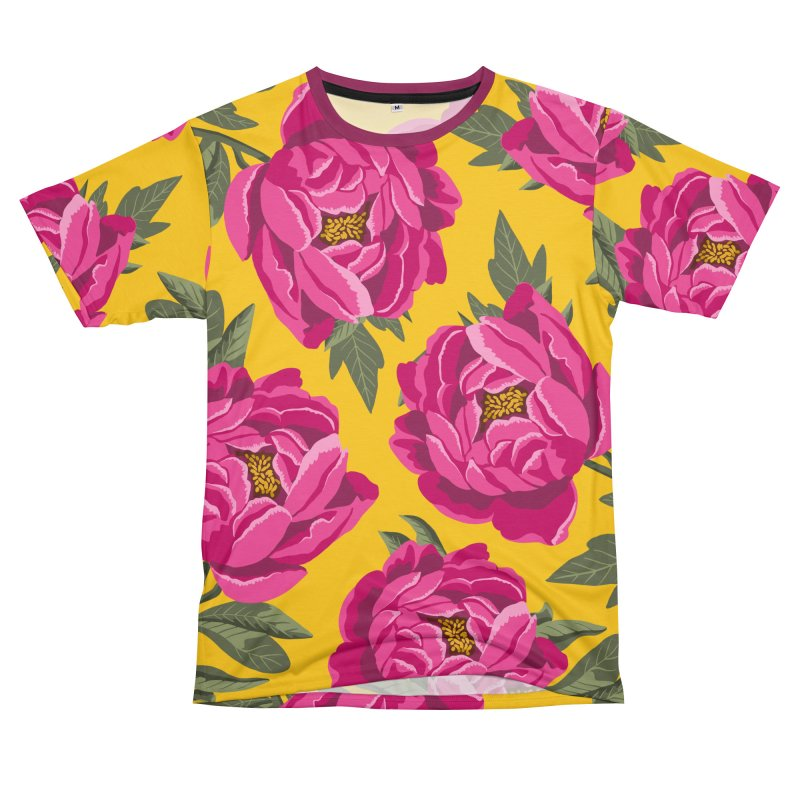 Bright Peony Print Men's Cut & Sew by 5 Eye Studio