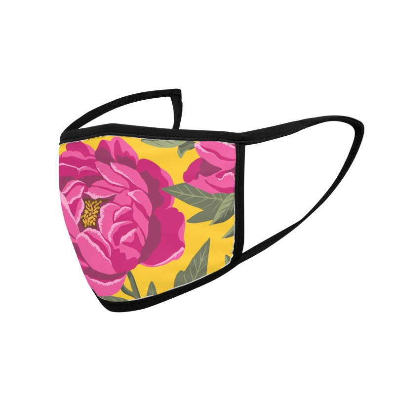 Bright Peony Print Accessories Face Mask by 5 Eye Studio