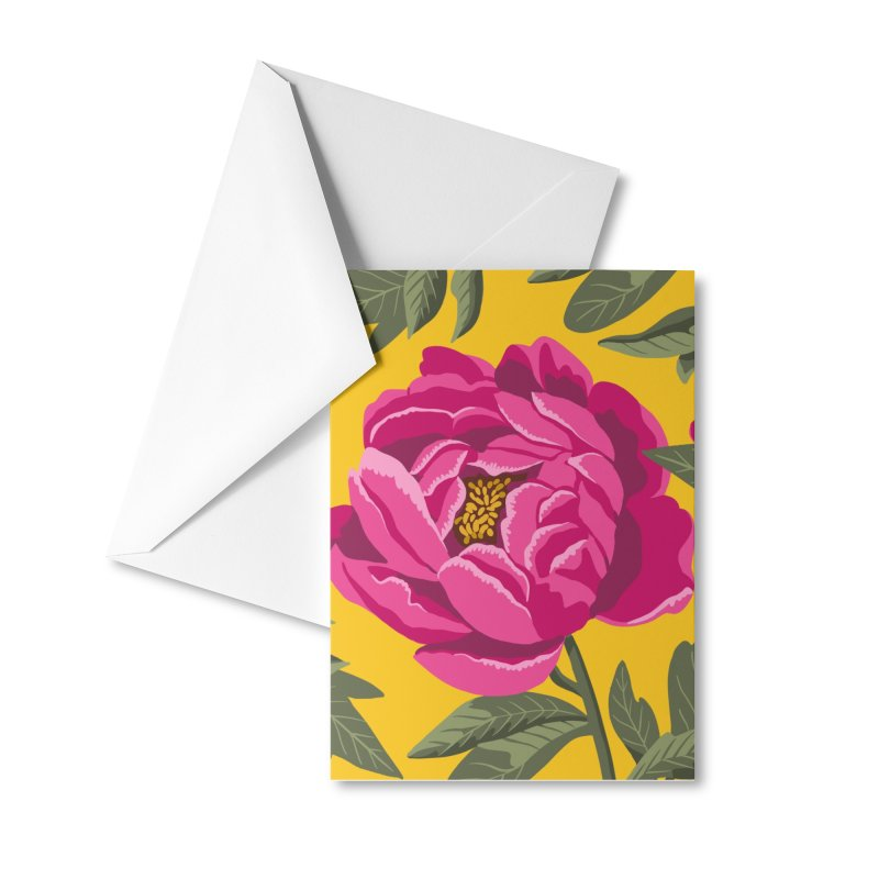 Bright Peony Print Accessories Greeting Card by 5 Eye Studio
