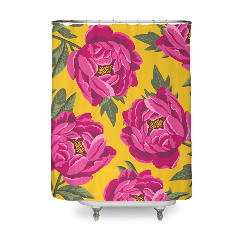 Bright Peony Print Home Shower Curtain by 5 Eye Studio