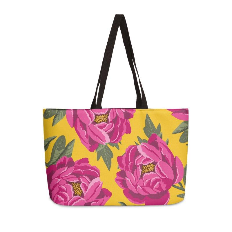 Bright Peony Print Accessories Bag by 5 Eye Studio