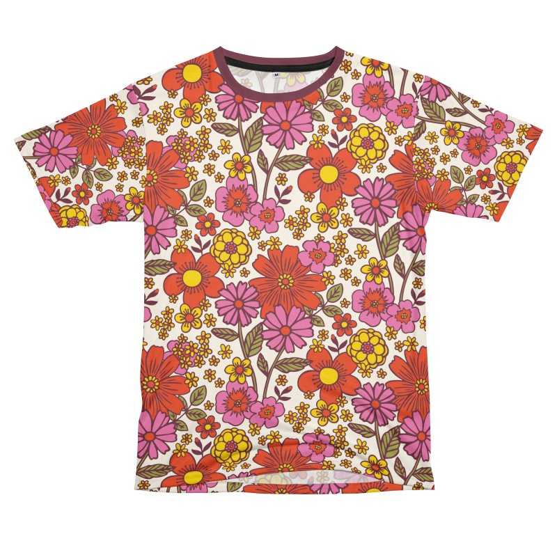 Groovy Floral Print Men's Cut & Sew by 5 Eye Studio