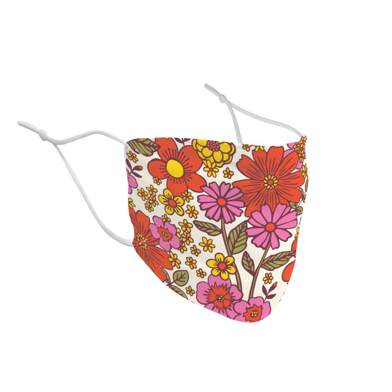Groovy Floral Print Accessories Face Mask by 5 Eye Studio