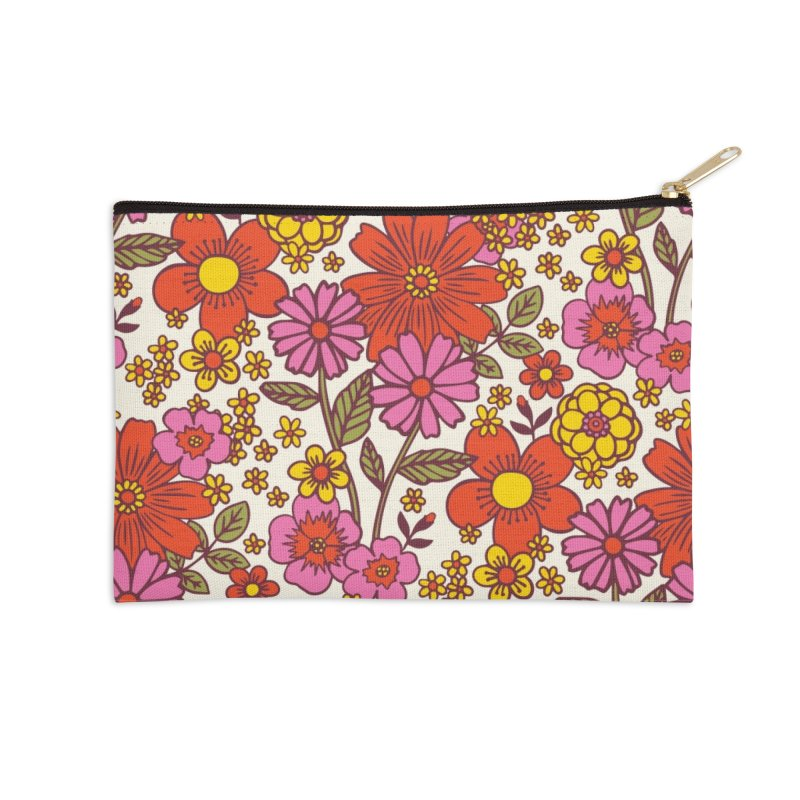 Groovy Floral Print Accessories Zip Pouch by 5 Eye Studio
