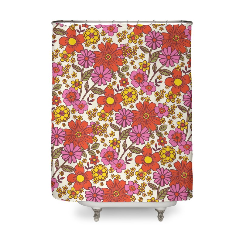 Groovy Floral Print Home Shower Curtain by 5 Eye Studio