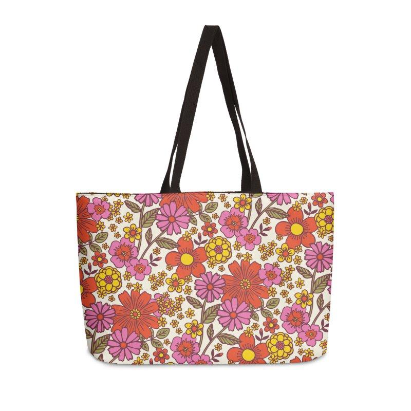 Groovy Floral Print Accessories Bag by 5 Eye Studio