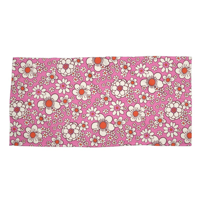 Pink Retro Daisy Print Accessories Beach Towel by 5 Eye Studio