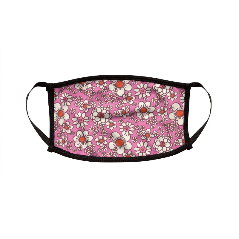 Pink Retro Daisy Print Accessories Face Mask by 5 Eye Studio