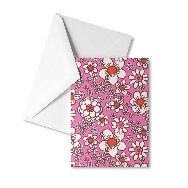 Pink Retro Daisy Print Accessories Greeting Card by 5 Eye Studio