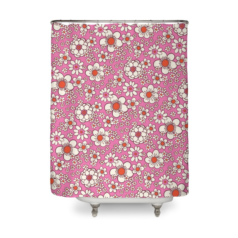 Pink Retro Daisy Print Home Shower Curtain by 5 Eye Studio