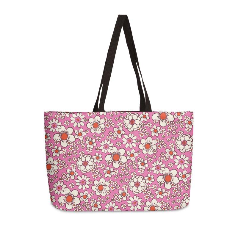 Pink Retro Daisy Print Accessories Bag by 5 Eye Studio